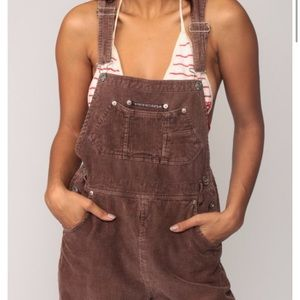 Brown corduroy overalls